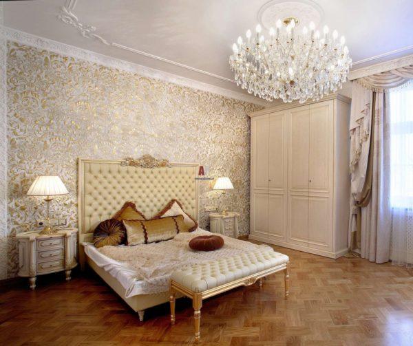 оригинальные обои в интерьере спальни