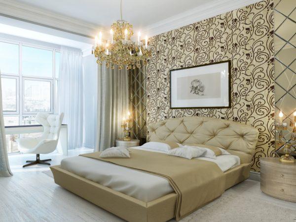 обои в дизайне светлой спальни