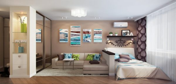 светлая спальня и гостиная