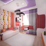 интерьер спальни и гостиной