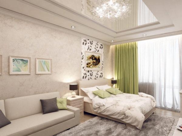 необычное оформление спальни и гостиной