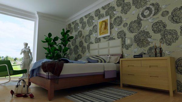 оригинальные красивые обои в спальню