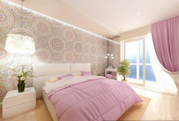 необычный дизайн обоев в спальню