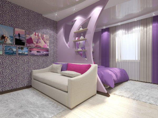 необычный дизайн спальни и гостиной