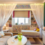 необычный интерьер спальни и гостиной