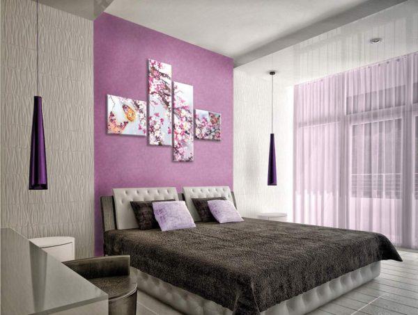 современные картины в интерьере спальни