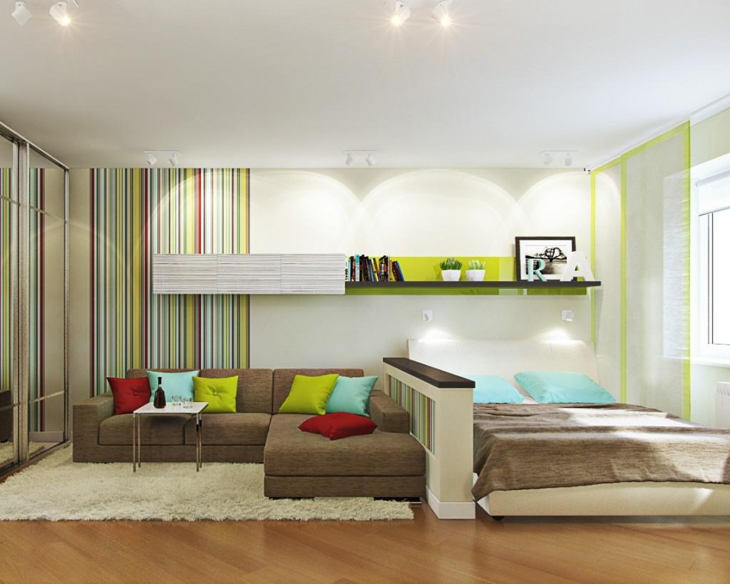 Интерьер комнаты с диваном и кроватью фото