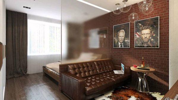 фото интерьера спальни и гостиной
