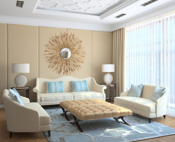 фото дизайна стены с использованием объемных деталей
