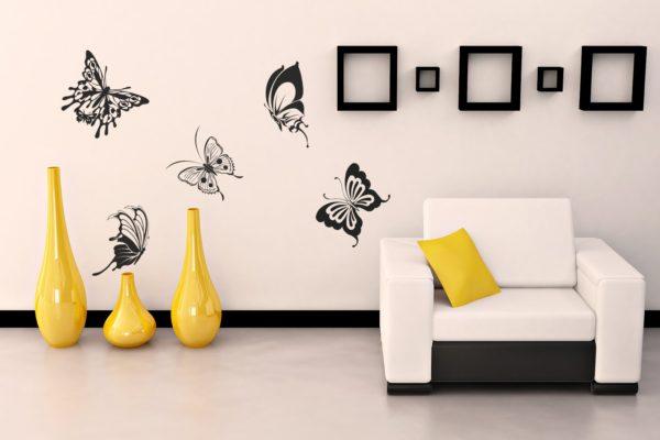 рисунок бабочек на стене