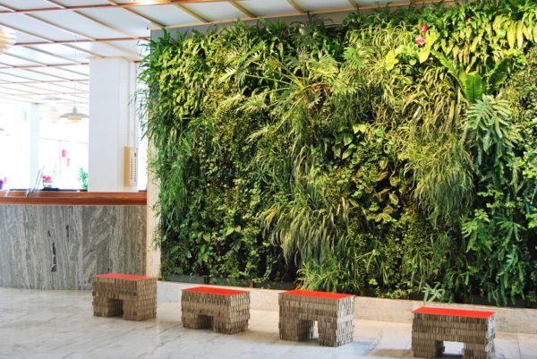 фото стены из искусственных растений