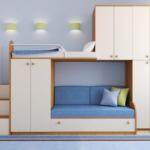 детская двухэтажная кровать с несколькими шкафами