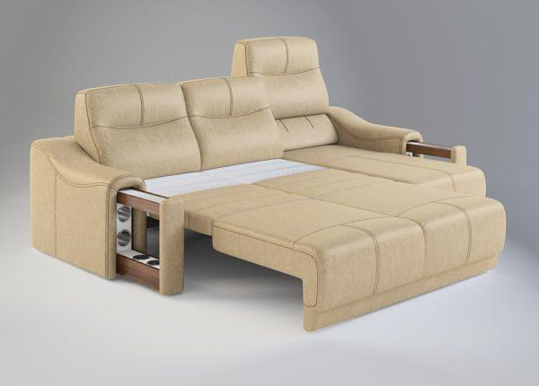 диван-кровать бежевый разобранный