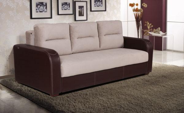кожаный диван-кровать с подлокотниками