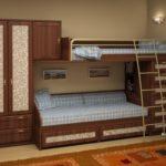 двухэтажная кровать со шкафом для одежды