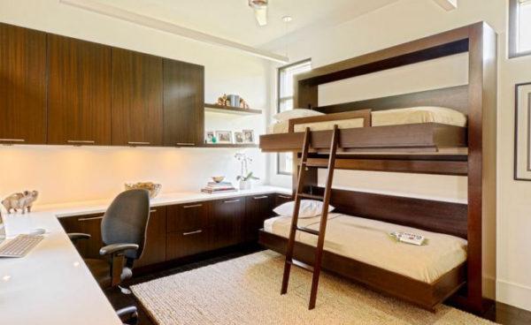 фото двухъярусной кровати в студии