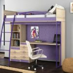 двухэтажная кровать со столом для ребенка