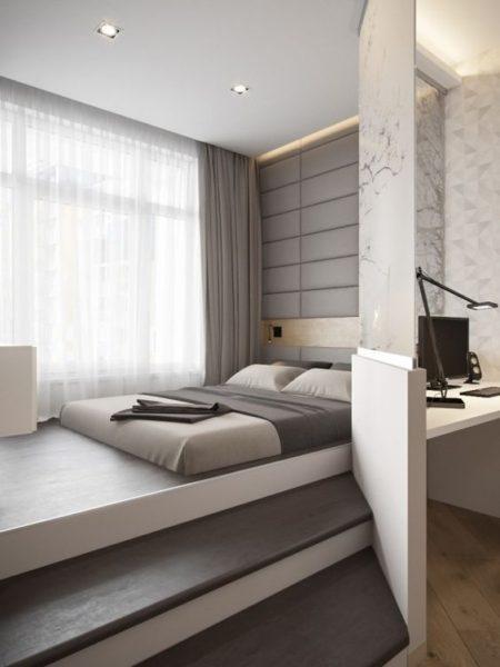кровать-подиум серая