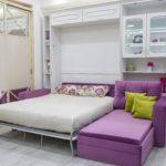 сиреневый шкаф-постель