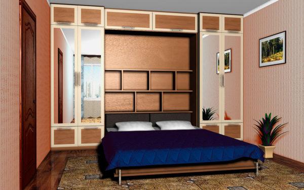 синий кровать-шкаф