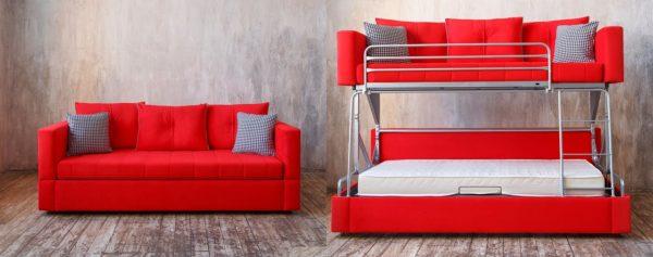 красный диван-трансформер