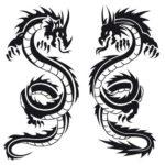 трафарет двух драконов