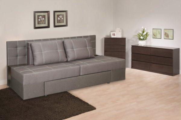 фото серого выкатного дивана