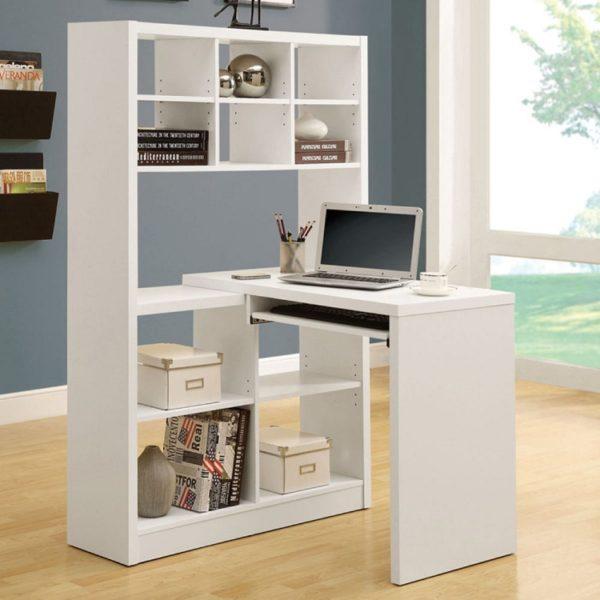 фото компьютерного стола с высокими полками