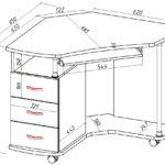 чертеж простого углового стола