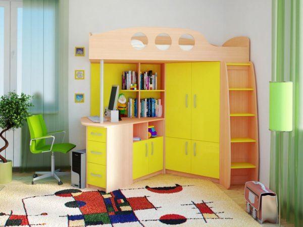 кровать чердак с большим рабочим столом