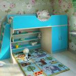 детская кровать-чердак голубая для девочки