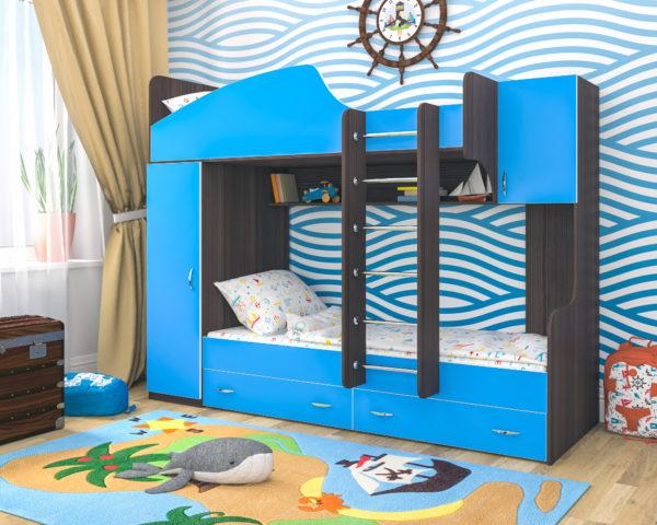 Фото детской кровати-чердака в морском стиле