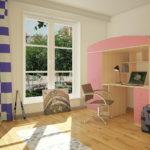 детская кровать-чердак розовая