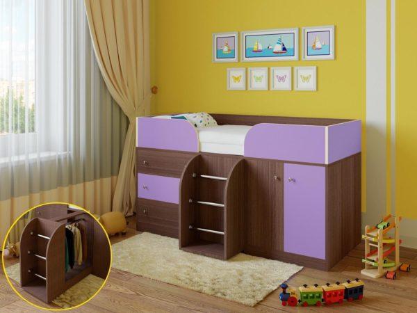 кровать чердак фиолетовая