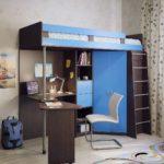 детская кровать-чердак черно-синяя