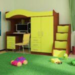 детская кровать-чердак ярко-зеленая