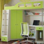 детская кровать-чердак со шкафом для одежды