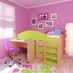 детская кровать-чердак в комнату девочки