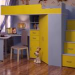детская кровать-чердак двухцветная