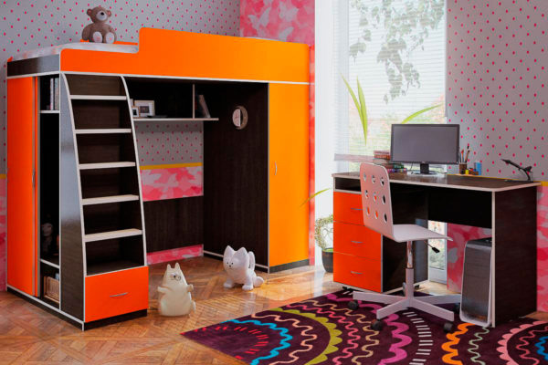 оранжевая кровать-чердак