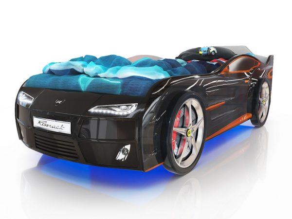 кровать-машина блестящая черная