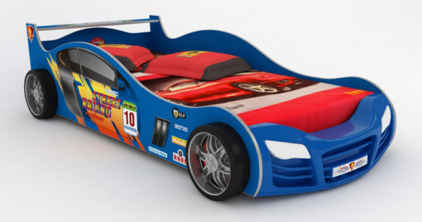кровать-машина детская синяя
