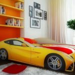 кровать-машина феррари желтый