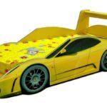 кровать-машина желтая с полоской