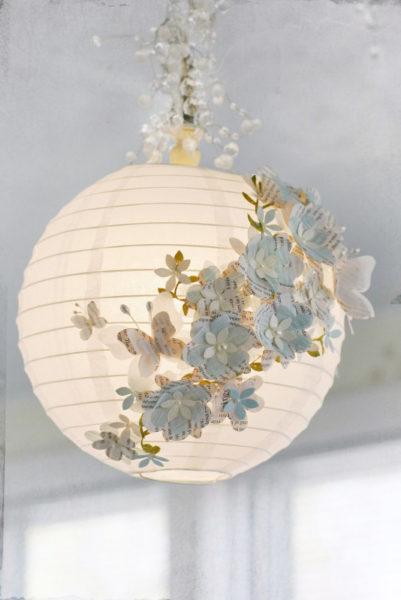 светильник из бумаги и ткани