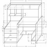 чертеж прямого компьютерного стола с полками