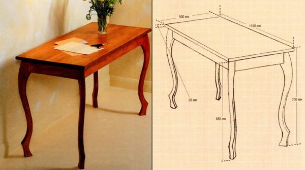 стол и его чертеж