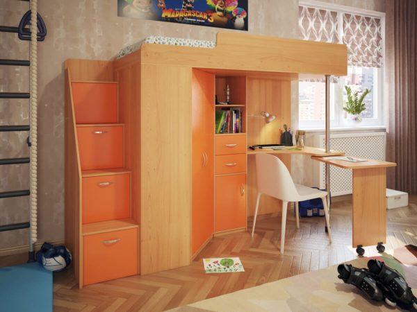 оранжевая кровать-чердак для подростка