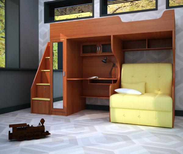 чердак-кровать со столом и диваном
