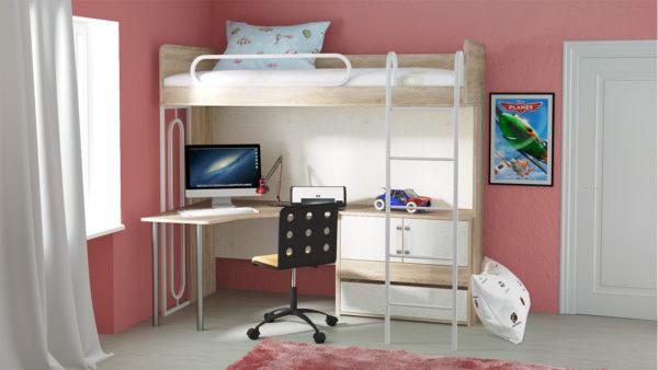 кровать-чердак из светлой древесины